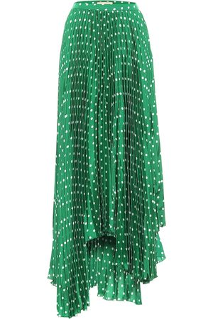Plan C Polka-dot pleated satin midi skirt