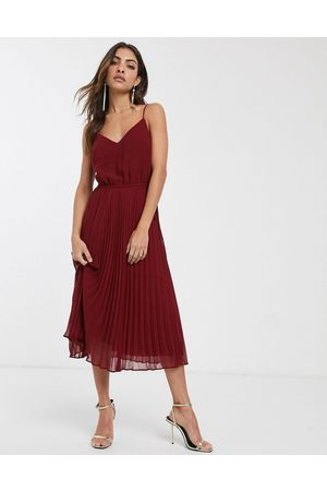 ASOS Pleated cami midi dress with drawstring waist in oxblood-Red