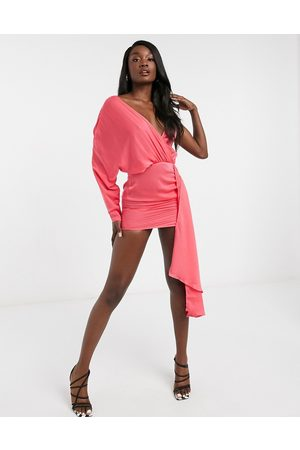 I saw it first Asymmetric satin drape mini dress in pink