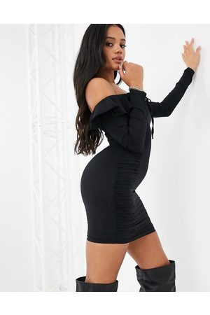 NaaNaa Bardot frill long sleeve dress in black