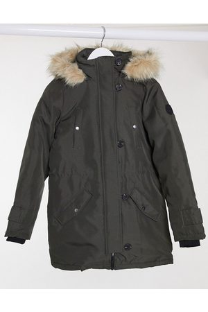 Vero Moda Parka with faux fur hood in khaki-Green
