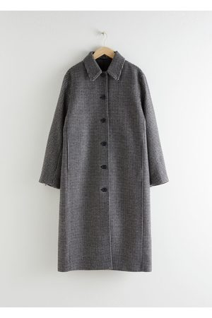 & OTHER STORIES Houndstooth Wool Blend Long Coat - Black