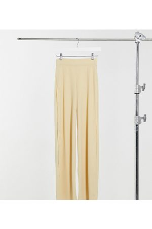 Missguided Co-ord ribbed wide leg trouser in beige