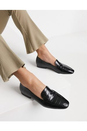 ASOS Mindy flat loafers in black croc
