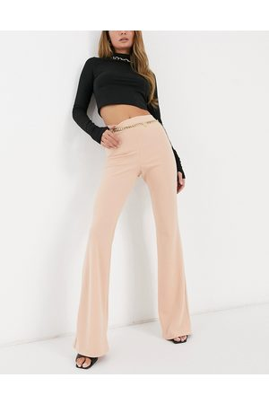 ASOS Jersey kick flare suit trousers in pale pink