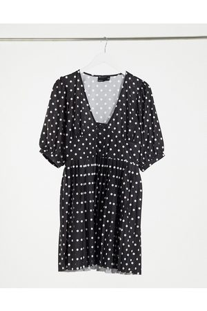 ASOS Mini short sleeve pleated dress with button detail in black and white spot