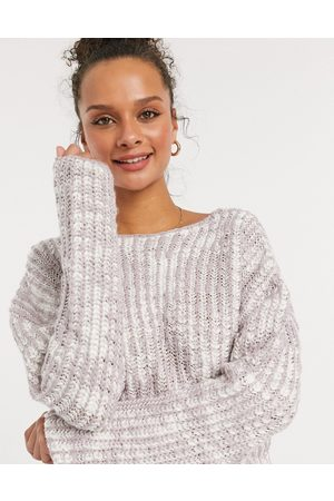 Cotton On Ribbed neck jumper in lilac-Cream