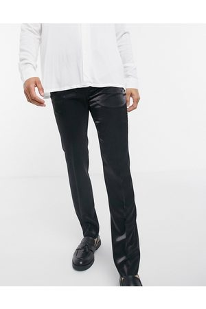 Twisted Tailor Suit trousers in high shine black