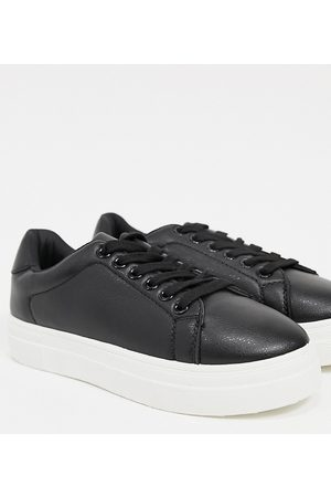 London Rebel Wide fit flatform lace up trainers in black