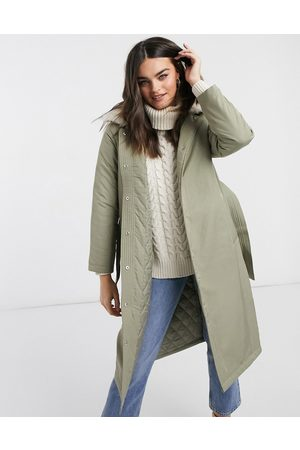Fashion Union Longline parka coat with faux fur trim and belt-Green