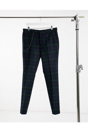 Twisted Tailor Suit trousers in green and navy check