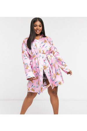 Outrageous Fortune Nightwear satin kimono in pink floral-Multi
