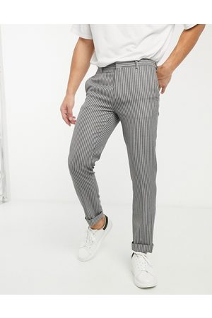 River Island Erkek Slim & Skinny Pantolon - Skinny smart trousers in stripe-Grey