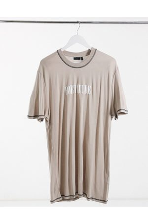 ASOS Super longline relaxed t-shirt with central chest text print in washed viscose-Grey