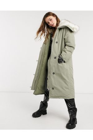 ASOS Longline parka with faux fur trim in grey