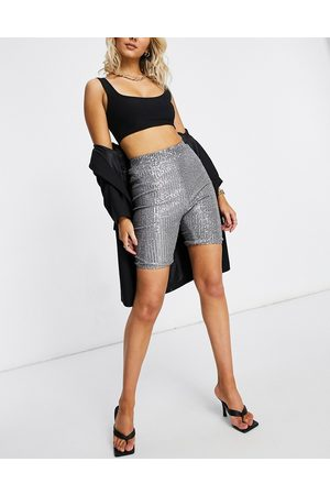 Club L Sequin bodycon short in gunmetal-Grey