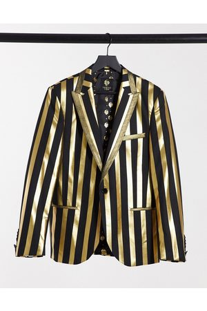 Twisted Tailor Suit jacket in black and gold stripe