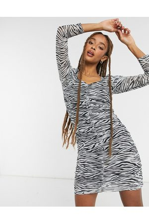 Only Mesh mini dress with gathered front in zebra print-Black