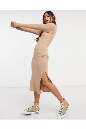 New Look Ribbed turtle neck bodycon dress in oatmeal-Cream