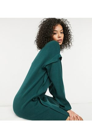 Noisy May Knitted jumper dress with sleeve detail in dark green