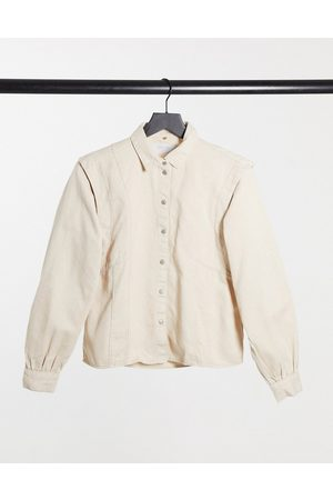 Noisy May Denim shirt with shoulder detail in beige