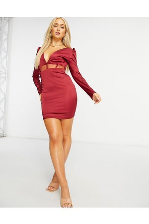 NaaNaa Kadın Midi Elbiseler - Plunge long sleeve satin midi dress in wine-Red