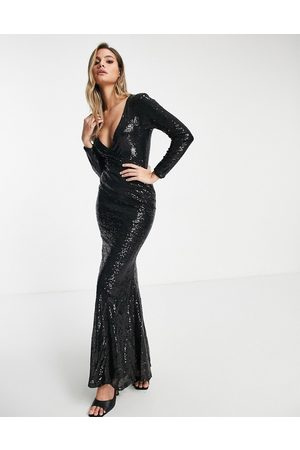 Club L Club L wrap front sequin maxi dress with fishtail in black