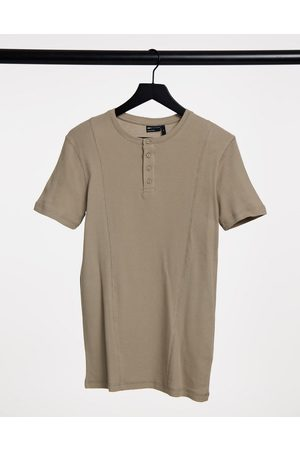 ASOS Muscle fit waffle t-shirt with seam detail and grandad collar in beige