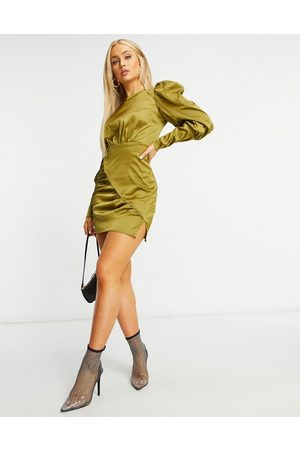 NaaNaa Satin long sleeve dress in khaki-Green