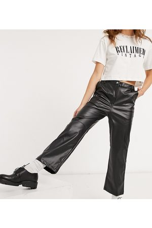 Reclaimed Vintage Inspired highwaist leather look flare trouser in black