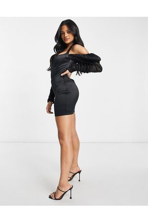 Club L Satin puff sleeve halterneck dress in black