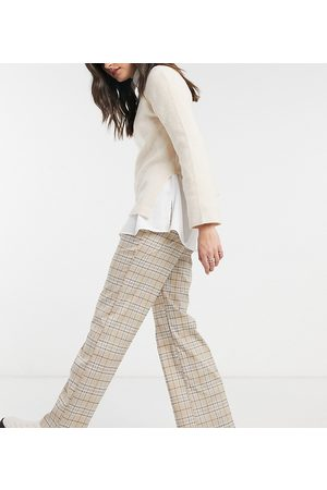 Reclaimed Vintage Inspired slouch trousers in neutral check-Brown