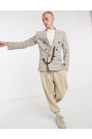 ASOS Skinny double breasted suit jacket with tort chain in beige prince of wales check