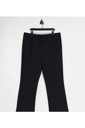 Yours Ribbed bootcut trousers in black