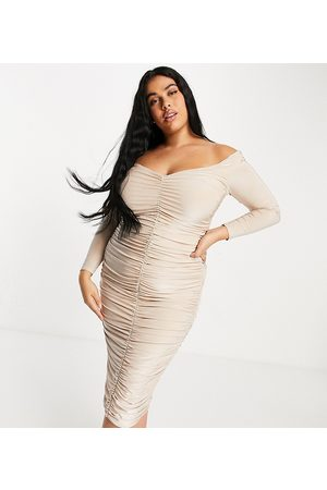 Club L London Plus Sweetheart neck all over ruched midi pencil dress in mushroom-Grey