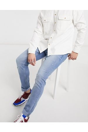 Only & Sons Slim jeans in light blue with rips