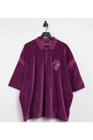 ASOS Plus oversized fleece polo shirt with chest embroidery-Red