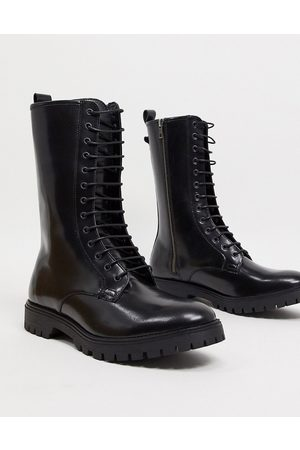 ASOS High lace up boots in black leather