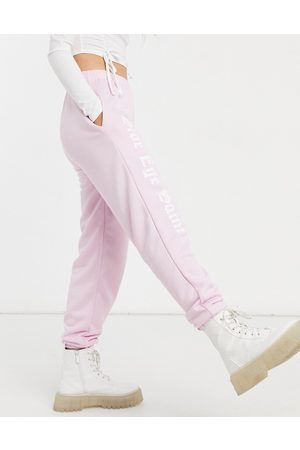 Skinnydip X Jade Thirlwall joggers with side eye slogan co-ord-Pink