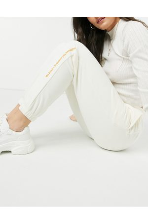 Nobody's Child Sustainable relaxed joggers with branding co-ord-White
