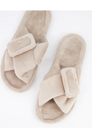 ASOS Zine fur slider slippers with buckle in mink-Beige