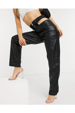 The Kript Straight leg trousers in faux leather with zip waist detail-Black