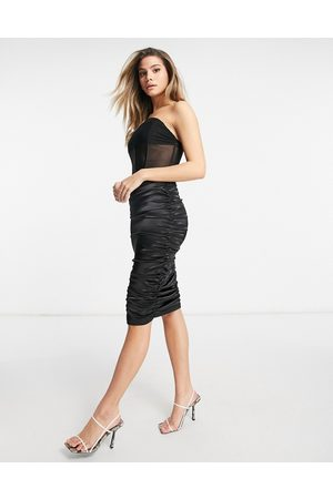 Saint Genies Velvet and satin corset bandeau midi dress in black