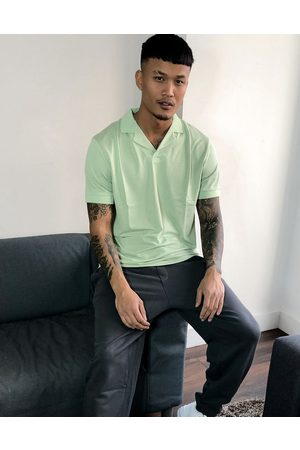ASOS Relaxed revere polo shirt in retro mesh in green