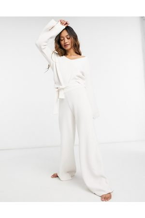 River Island Tie waist wide leg lounge knit co-ord trousers in cream