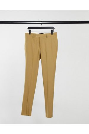 ASOS Wedding super skinny suit trousers in camel micro texture-Beige