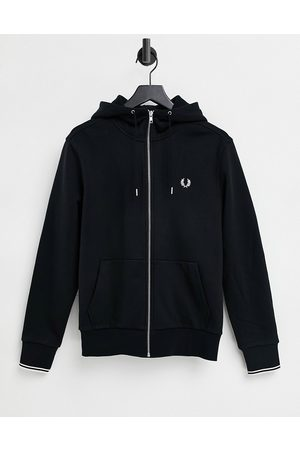 Fred Perry Zip through hooded sweat in black