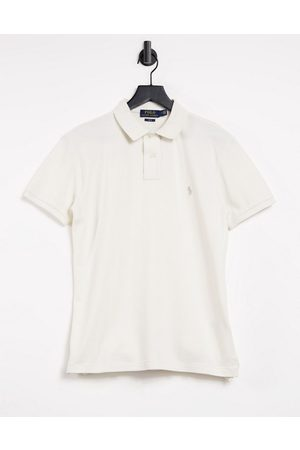 Polo Ralph Lauren Slim fit player logo pique polo in antique cream