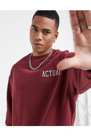 ASOS Oversized sweatshirt in burgundy with embroidered logos