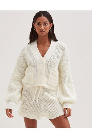 4th & Reckless Knitted volume sleeve cardi co ord in cream